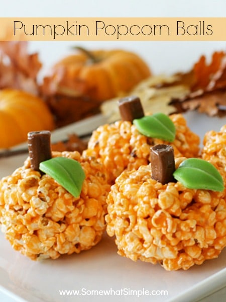 pumpkin popcorn ball treats