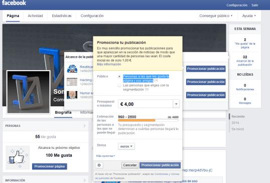 Promocionar un artículo en Facebook