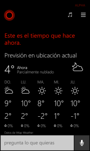 Cortana muestra la información meteorológica