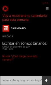 Cortana usa tu calendario