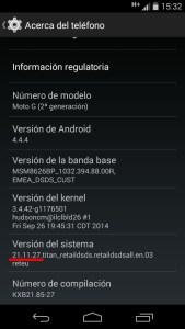 Actualizar Motorola Moto G 2014 a Android 5.0.2 viendo la versión del sistema