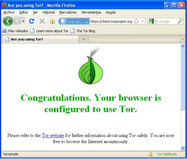 Firefox navegando por la red TOR para mejorar nuestra seguridad
