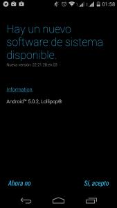 Los pasos de la actualizacion del Motorola Moto G 2014 a Android 5.0.2 Lollipop