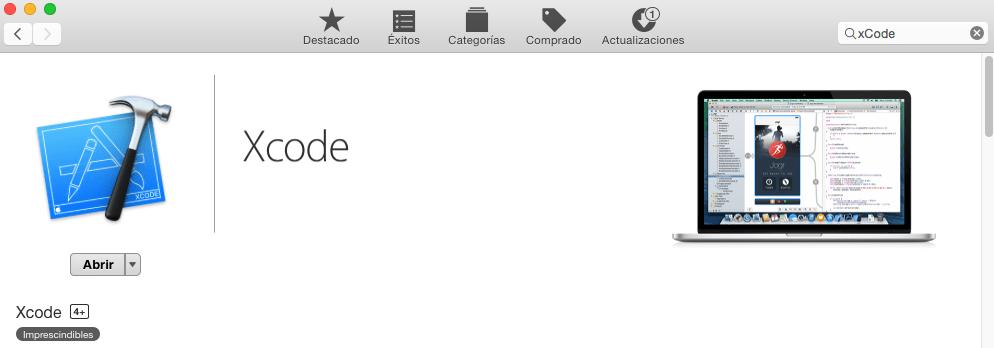 Imagen de la instalación de Xcode para desarrollar tu aplicacion
