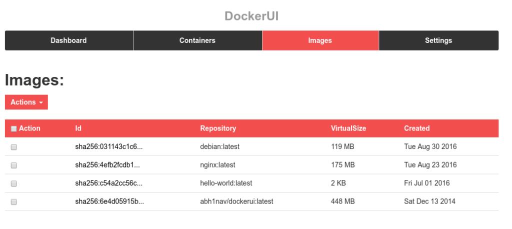 Interfaz gráfica de Docker imágenes disponibles