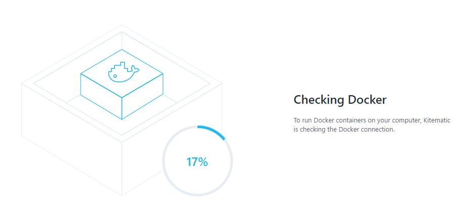 Kitematic arrancando y conectándose a Docker