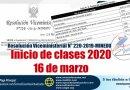MINEDU, Inicio de clases 2020, 16 de marzo, según RVM N° 220-2019-MINEDU