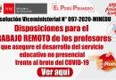 RV.M. N° 097-2020-MINEDU: Nuevas Disposiciones para el  TRABAJO REMOTO de los profesores