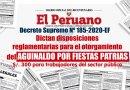Disposiciones reglamentarias para el otorgamiento del AGUINALDO POR FIESTAS PATRIAS, S/. 300 para trabajadores del sector público [D.S. Nº 185-2020-EF]