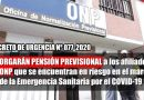 OTORGARÁN PENSIÓN PREVISIONAL a los afiliados de ONP que se encuentran en riesgo en el marco de la Emergencia Sanitaria producida por el COVID-19 [DECRETO DE URGENCIA  Nº 077-2020]