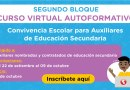 """Curso virtual autoformativo """"Convivencia Escolar para Auxiliares de Educación Secundaria"""", inscripciones del 22 de setiembre al 09 de octubre de 2020"""