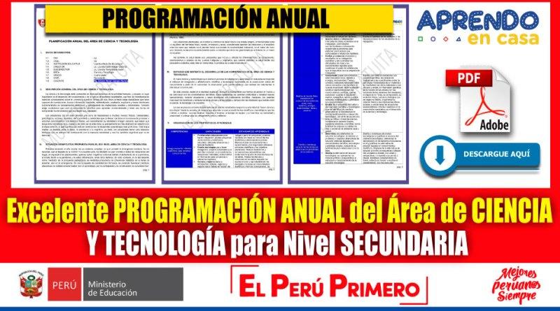 IMPORTANTE: Excelente PROGRAMACIÓN ANUAL del Área de CIENCIA Y TECNOLOGÍA para Nivel SECUNDARIA  [Descarga aquí][PDF]