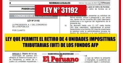 LEY N° 31192: Ley que Permite a los Afiliados al Sistema el Retiro de 4UIT de sus Fondos AFP [Conócelo aquí]