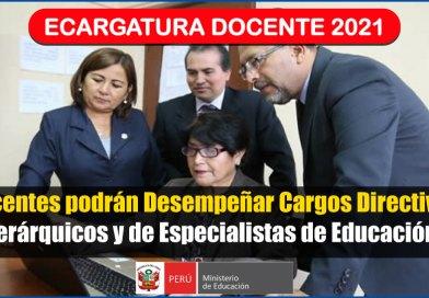 ENCARGATURA DOCENTE 2021: Docentes podrán Desempeñar Cargos Directivos, Jerárquicos y de Especialistas de Educación [Conócelo aquí]