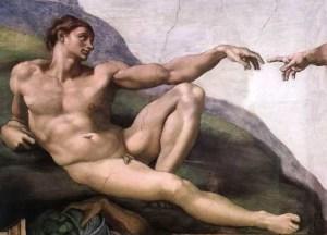 """""""la creación de Adán"""", de Miguel Ángel"""
