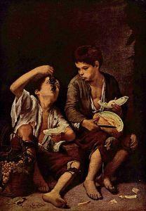 """Bartolomé Esteban Murillo y """"Los dos niños comedores de melón y uvas"""", cuadro de tal naturalidad que, en nuestros días, esta escena de ansioso apetito parece tan real como la vida misma."""