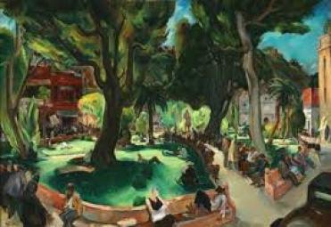 """Plaza on Sunday"", de Phil Dike."