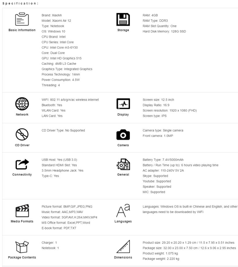 xiaomi-air-12-especificaciones