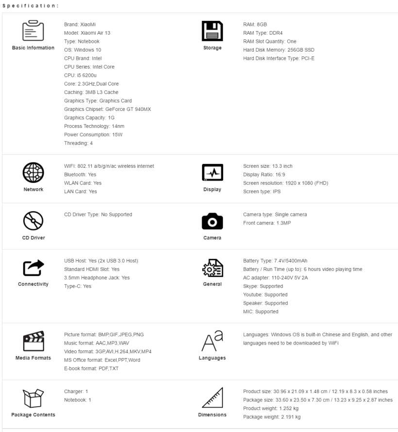 xiaomi-air-13-especificaciones