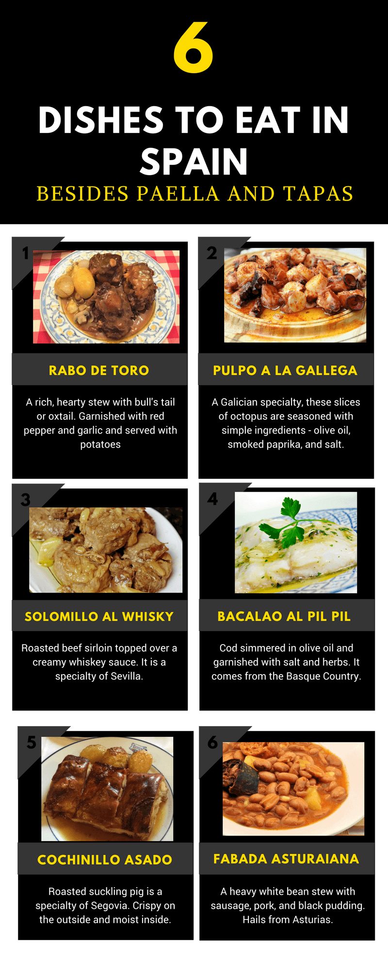 6 Dishes to Eat in Spain Besides Paella and Tapas Infographic