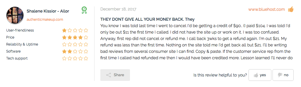 Bluehost review money complaint from Ini