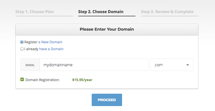 How to start a blog with Siteground - step 2 choose a domain