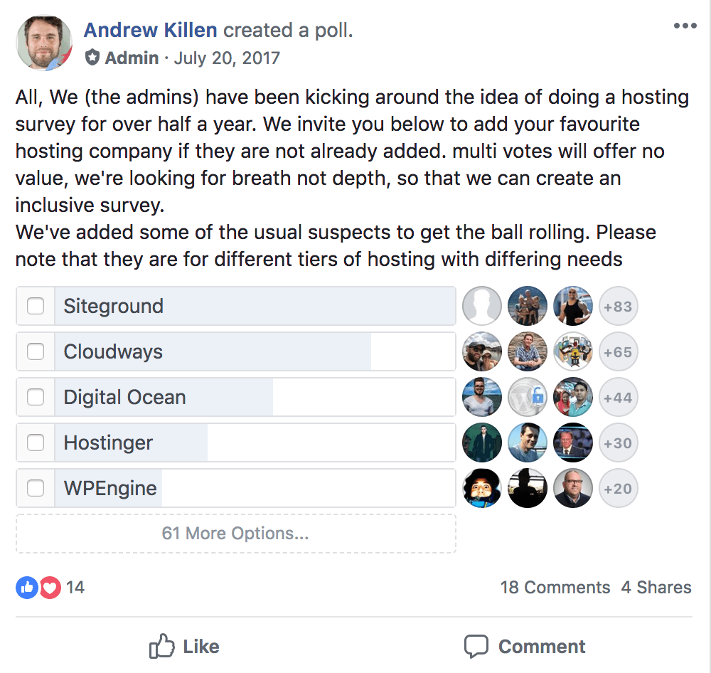 Start a blog with Siteground - FB Poll 2017