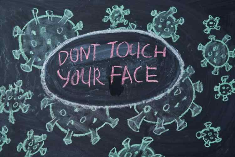 Don't touch your face sign on a chalkboard