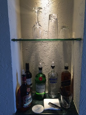 In-room bars are stocked daily, providing top shelf availability any time of the day or night.