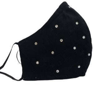 Black Cotton Mask Swarovski Crystals by Sonata London