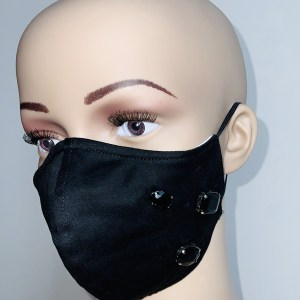 Black Cotton Mask with Swarovski Crystals