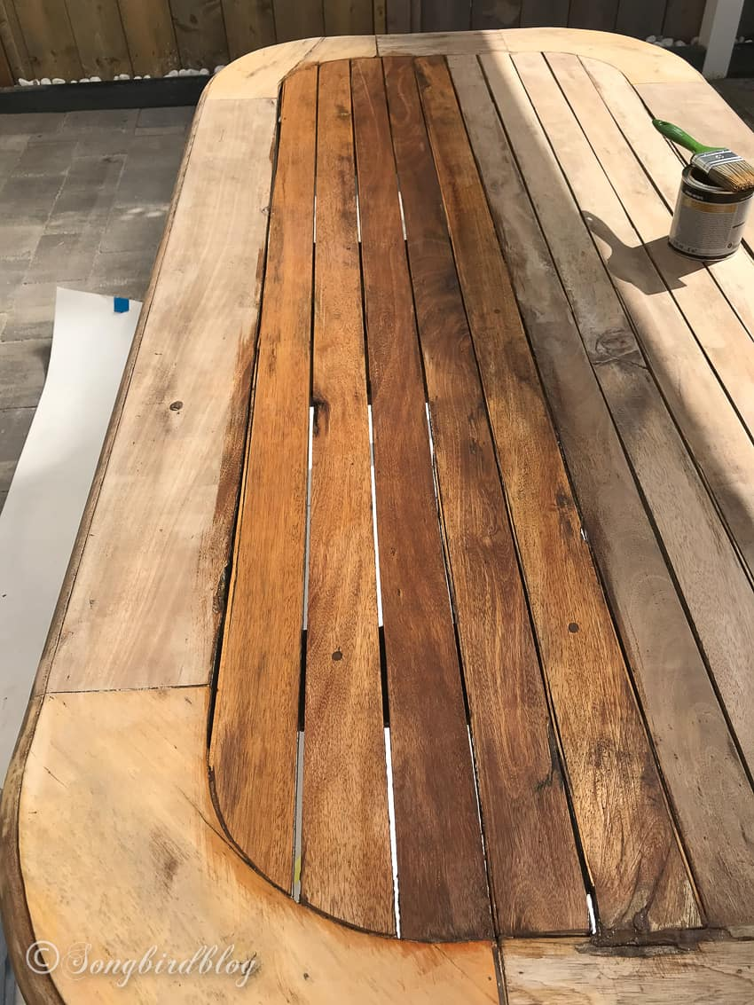old wood dining table outside