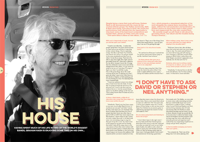 Graham Nash in Songwriting Magazine Summer 2018