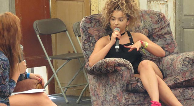 Ella Eyre in the Guardian Literary Institute tent at Camp Bestival 2015