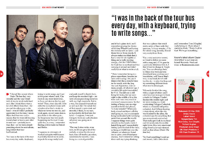 How I wrote Keane's 'Is It Any Wonder?' in Songwriting Magazine