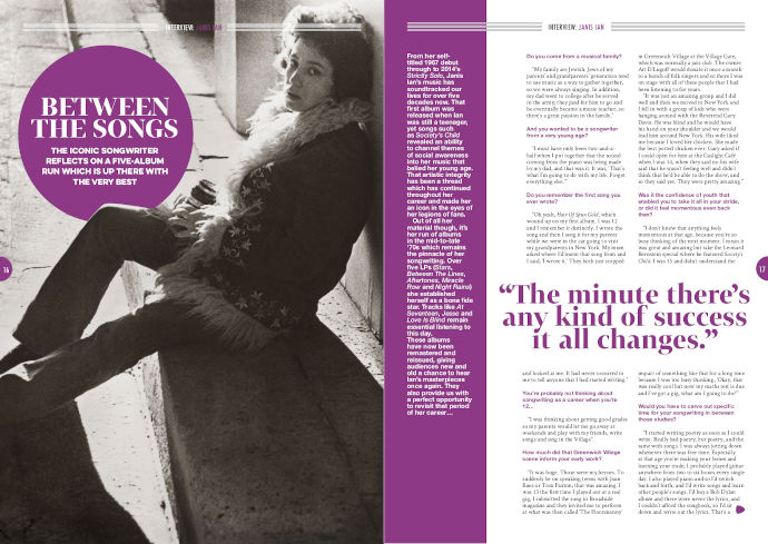 Janis Ian: interviewed in Songwriting Magazine Summer 2018
