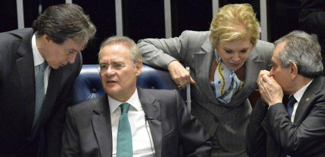 Foto Reprodução Os senadores Eunicio Oliveira, Renan Calheiros, Marta suplicy e Raimundo Lira na sessão que afastou Dilma Roussef. Cadu Gomes EFE