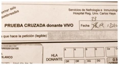 Impreso para la analítica de Prueba Cruzada de Donante Vivo