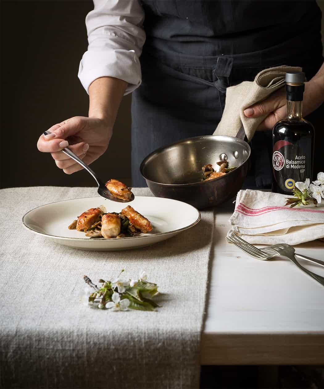ricetta involtino con pancetta all'aceto balsamico