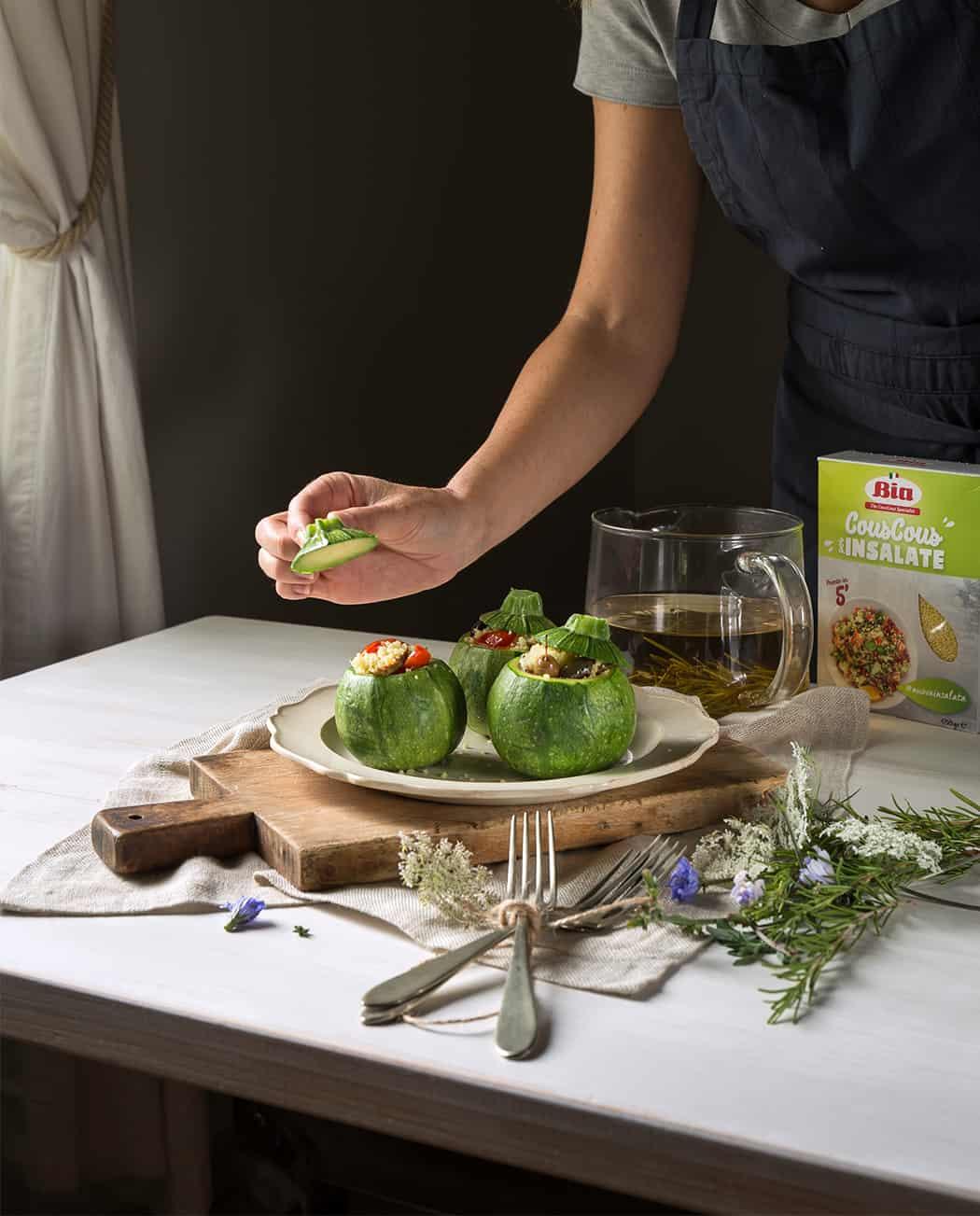 ricette Bia cous cous con zucchine tonde ripiene