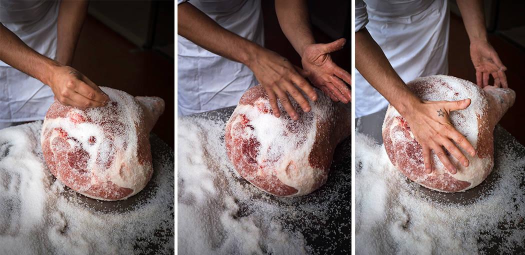 la salatura del prosciutto di Parma
