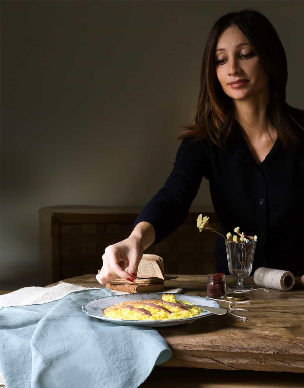 ricette risotto allo zafferano con alici di Sonia Paladini