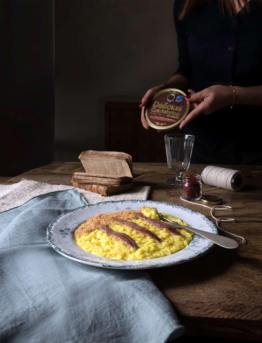 ricetta risotti con alici Cantabrico e zafferano