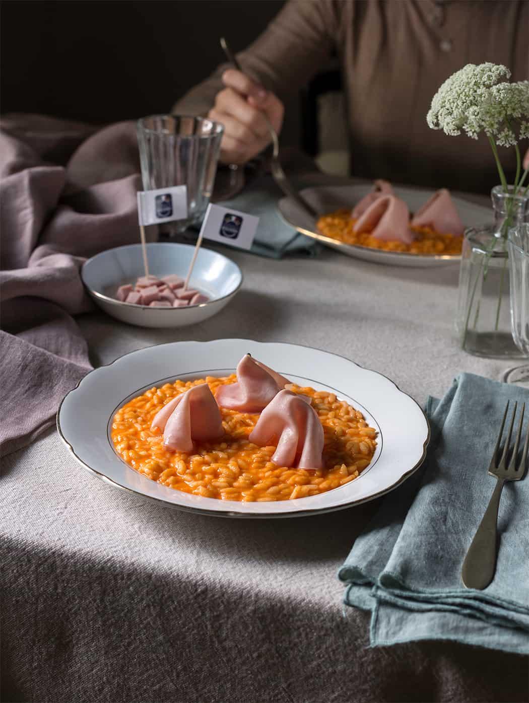 ricetta risotto con crema ai peperoni