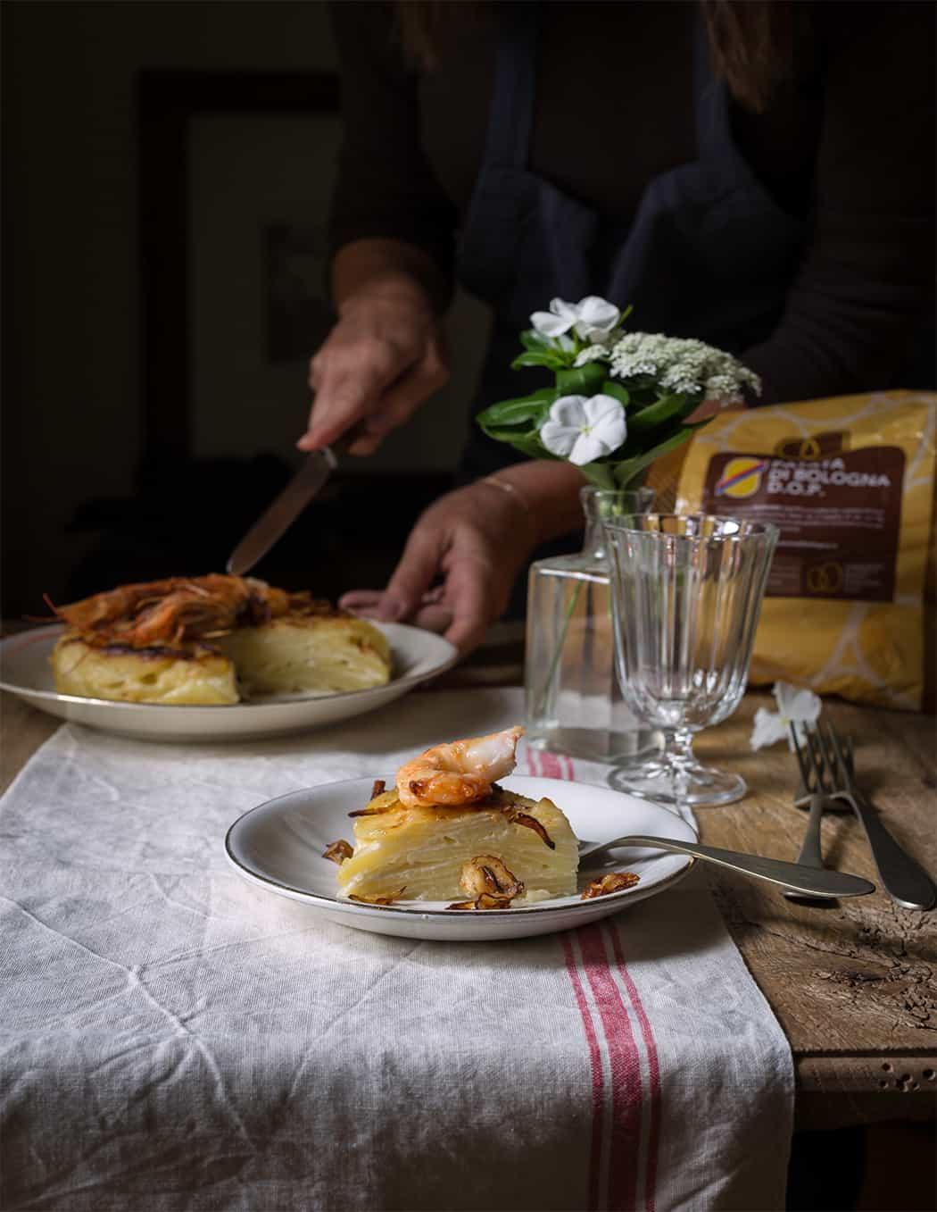 ricetta leggera con patate e gamberi