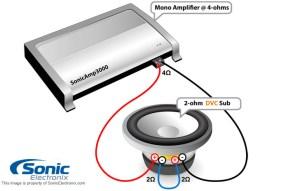 single 2ohm sub wiring,2 channel mono block