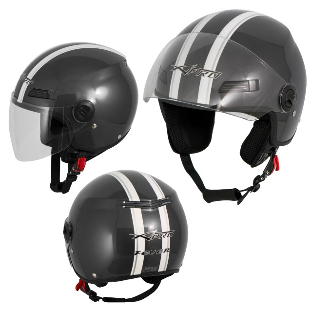 Motorcycle Quad Open Face Jet Helmet Apparel Scooter A-pro ...