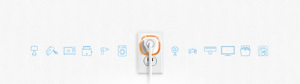 Fibaro Smart Plug plugged into outlet with Automation Icons on both sides: Fibaro Canada Lifestyle Image