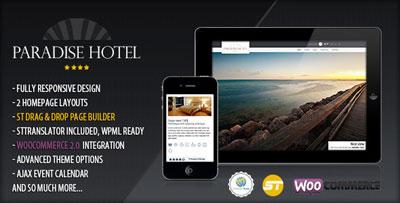 paradise hotel responsive wordpress hotel theme