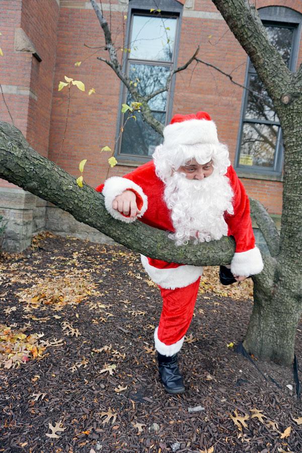Santa stuck in tree